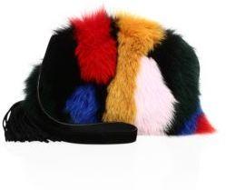 Loeffler Randall Multicolor Fox Fur & Suede Crossbody Pouch
