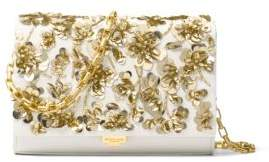 Michael Kors Yasmeen Embellished Leather Clutch - OPTIC WHITE - STYLE