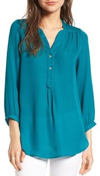 Amour Vert Women's 'Amy' Collarless Silk Blouse