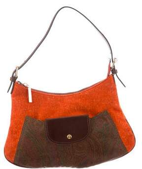 Etro Leather-Trimmed Felt Bag