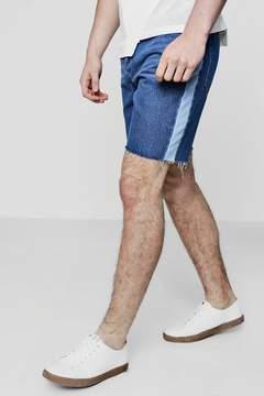 boohoo Contrast Side Panel Bermuda Denim Shorts