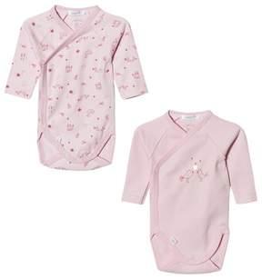 Absorba 2 Pack of Pink Bird Print Long Sleeve Bodies