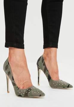 Missguided Khaki Camouflage Studded Court Shoes