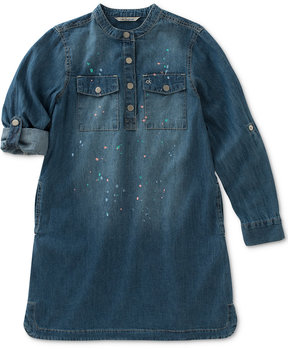 Calvin Klein Paint Splatter Chambray Utility Dress, Big Girls (7-16)