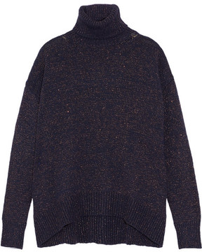 Etro Metallic Knitted Turtleneck Sweater - Midnight blue
