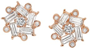 Crislu 18K Rose Gold Plated Sterling Silver Silver Couture Star Stud Earrings