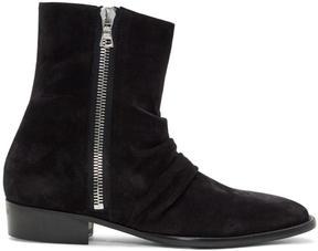 Amiri Black Suede Skinny Stack Boots