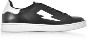 Neil Barrett Black and White Leather Thunderbolt Tennis Sneakers