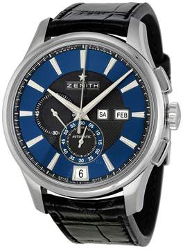 Zenith Captain Winsor Automatic Chronograph Black and Blue Dial Black Leather Men's Watch 032070405422C708