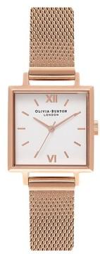 Olivia Burton Women's Midi Square Mesh Strap Watch, 22.5Mm