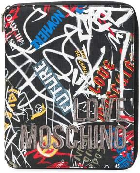 Love Moschino graffiti zip around purse