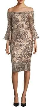 Betsy & Adam Plus Off-the-Shoulder Sequin Dress