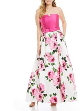 B. Darlin Plus Strapless Bow Waist Floral Ball Gown
