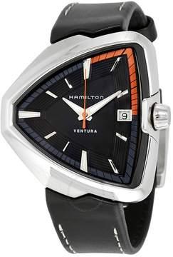 Hamilton Ventura Elvis80 Black Dial Black Leather Men's Watch