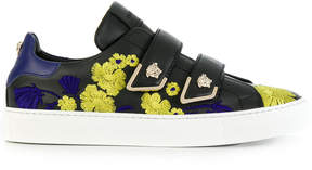 Versace Medusa touch strap floral embroidered sneakers