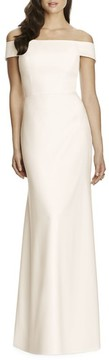 Dessy Collection Women's Off The Shoulder Crepe Gown