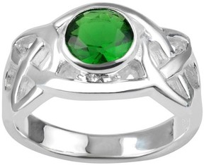 Journee Collection 1/4 CT. T.W. Round-cut Cubic Zirconia Celtic Accent Bezel Set Ring in Sterling Silver - Green
