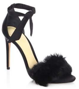 Alexandre Birman Clarita 100 Rabbit Fur & Satin Ankle-Strap Sandals
