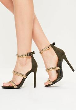 Missguided Khaki Braided 3 Strap Heeled Sandals