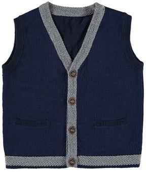 Mayoral Knit Vest w/ Contrast Trim, Size 3-7