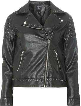 Dorothy Perkins Black Mini Stud Faux Leather Biker Jacket