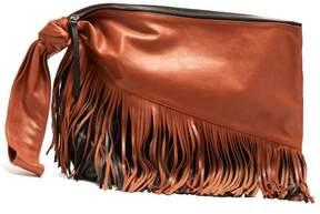 Isabel Marant Farwo Tasselled Leather Clutch - Womens - Red
