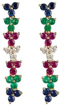 Ef Collection 14K Yellow Gold Triple Cluster Multi-Color Diamond Drop Earrings - 0.18 ctw