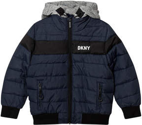 DKNY Navy Puffer Branded Coat with Detachable Hood
