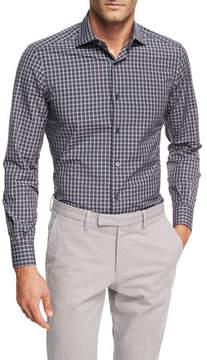Ermenegildo Zegna Check Cotton Shirt, Charcoal/White