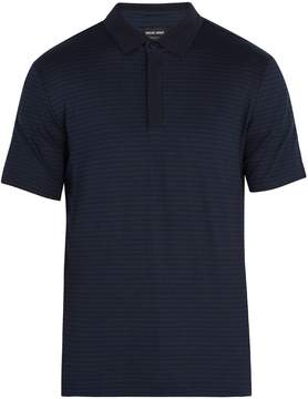 Giorgio Armani Geometric-print stretch-cotton polo shirt
