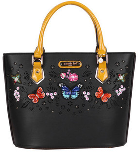 Women's Nicole Lee Visola Butterfly Embroidered Shopper Bag