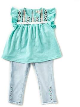 Jessica Simpson Baby Girls 12-24 Months Embroidered Top & Denim Jeans Set