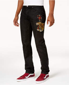 Reason Men's Tiger Skinny-Fit Embroidered Jeans