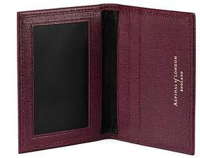 Aspinal of London | Id Travel Card Case In Burgundy Saffiano Black Suede | Burgundy saffiano black suede