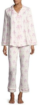 BedHead Flamingos in Love Long-Sleeve Classic Pajama Set, White Pattern