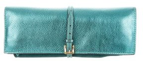 Burberry Metallic Leather Clutch - BLUE - STYLE