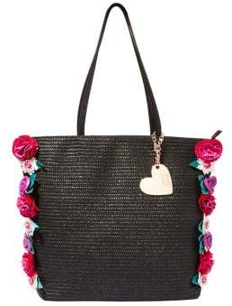 Betsey Johnson Gypsy Floral Straw Tote