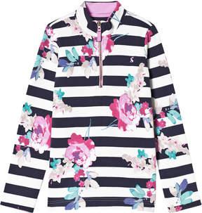Joules Navy Stripe and Floral Half Zip Sweatshirt