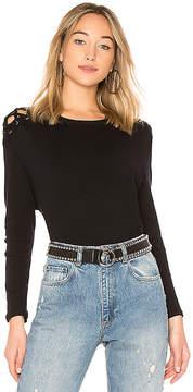 Enza Costa Cashmere Shoulder Lace Up Top