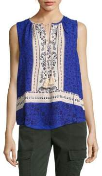 Collective Concepts Printed Tassel Tank Top