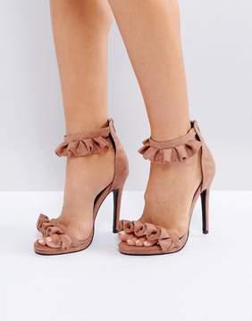 Public Desire Pink Ruffle Heeled Sandals