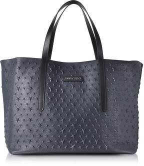 Jimmy Choo Navy Blue Stars Embossed Large Tote Bag