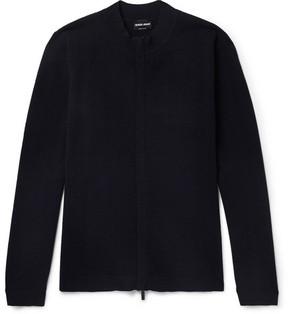 Giorgio Armani Herringbone Virgin Wool-Blend Zip-Up Sweater