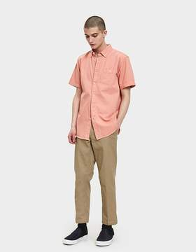 Obey Keble Denim Woven SS Shirt in Pale Coral