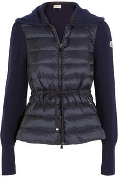 Moncler Quilted Shell And Ribbed Wool Down Cardigan - Navy