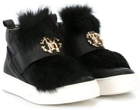 Roberto Cavalli fur applique hi-top sneakers