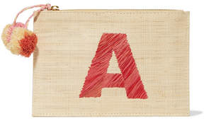 Kayu - Alphabet Embroidered Woven Straw Pouch - Beige