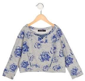 Miss Blumarine Girls' Embellished Floral Print Sweater
