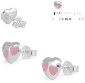 Ice Silver Pink Enameled Heart Stud Earrings For Girls