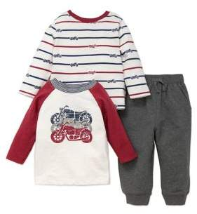 Little Me Baby Boy's Cotton Motorcycle Sweater and Jogger Pants Set